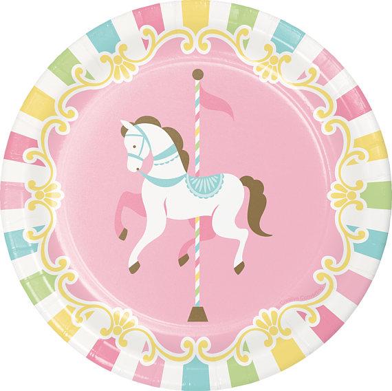 Carousel clipart pastel. Party dessert plates theme