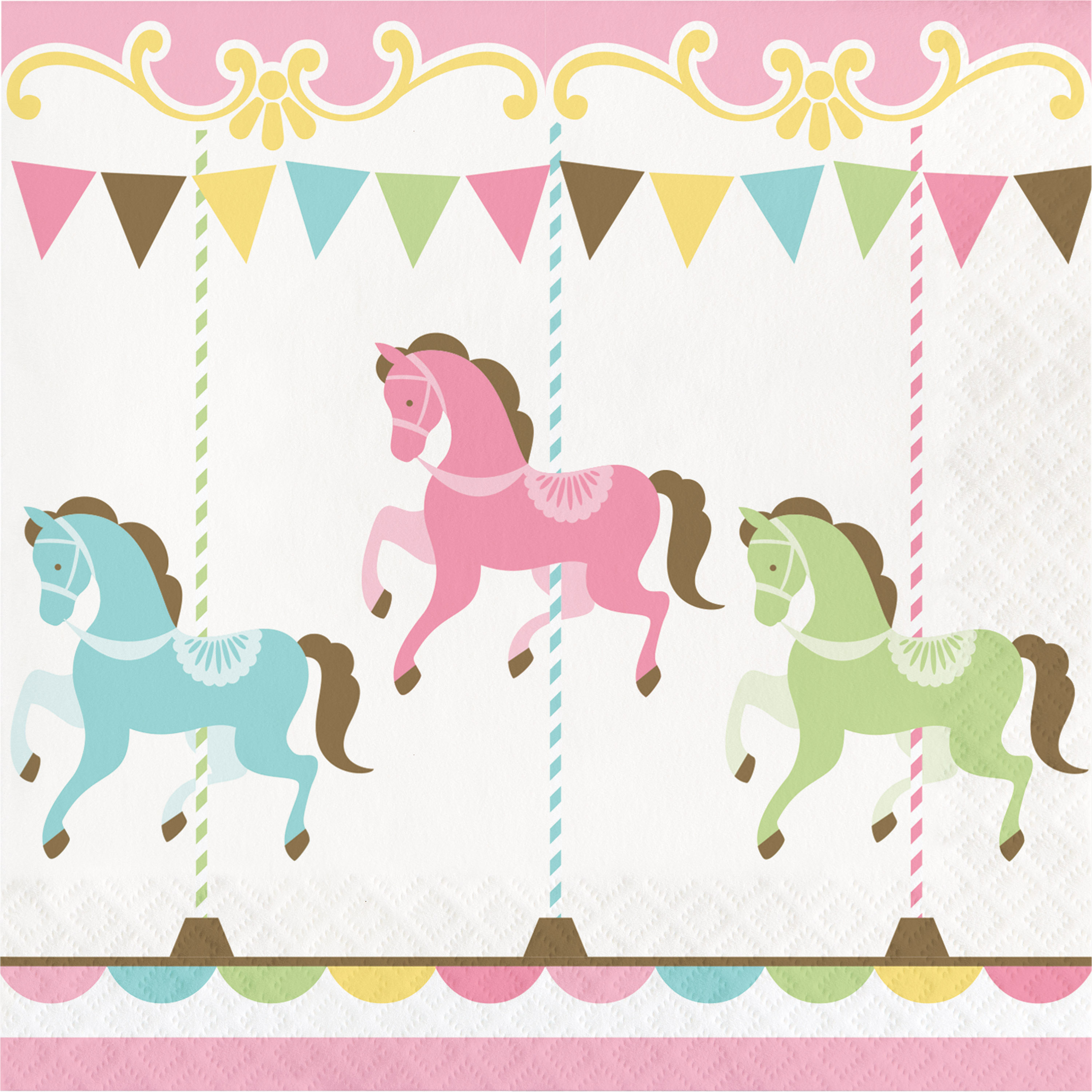 Party napkins baby shower. Carousel clipart pastel