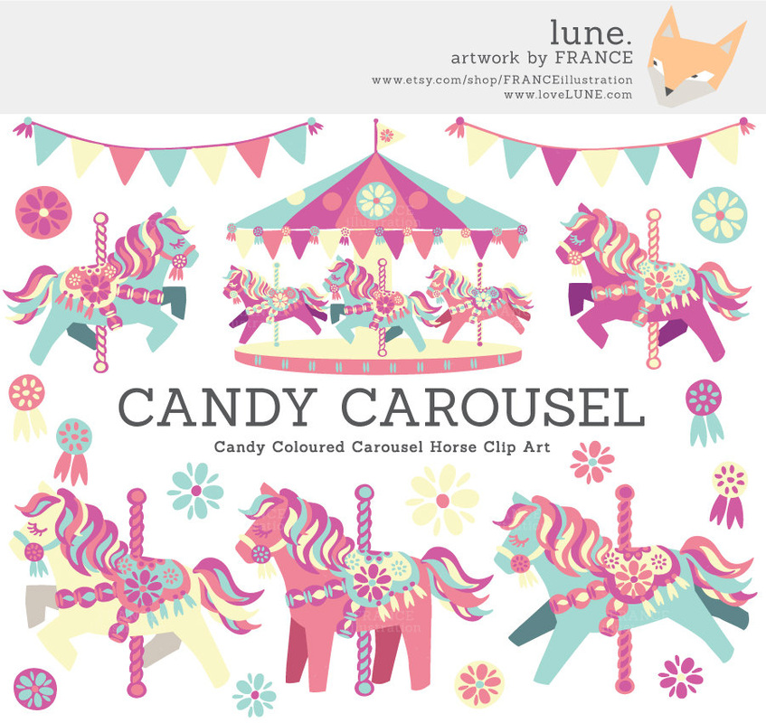 Carousel clipart pastel. Horses lune click for