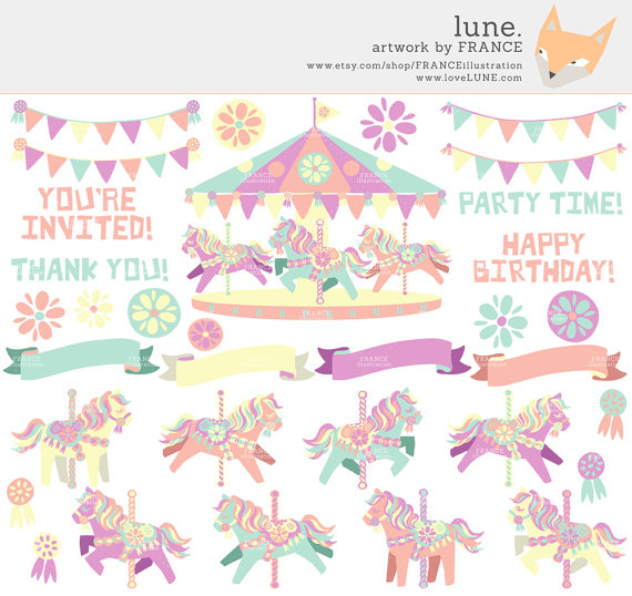 Pencil and in color. Carousel clipart pastel
