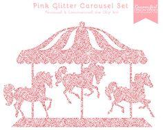 Gold glitter clip art. Carousel clipart pink