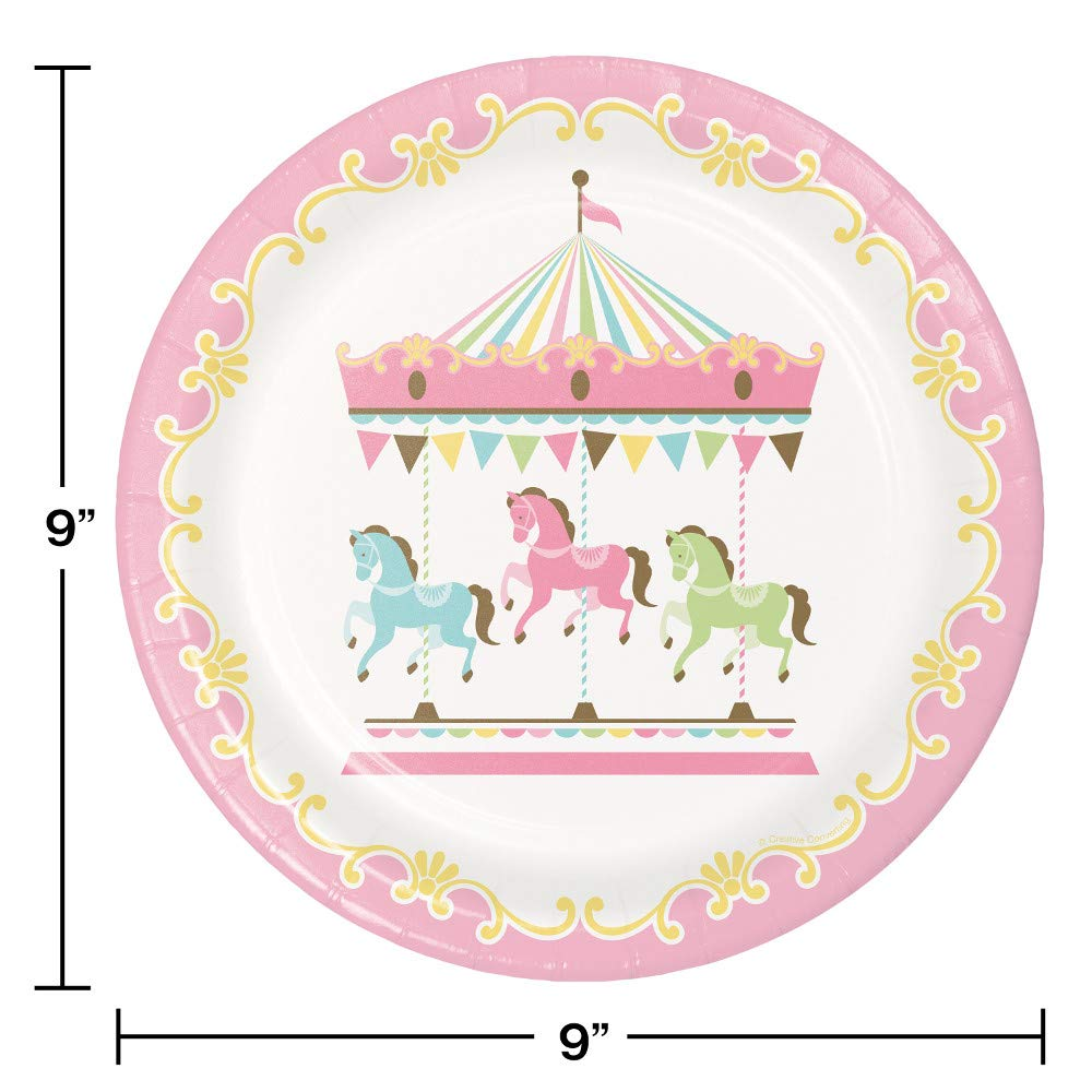 Party supplies kit serves. Carousel clipart pink