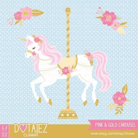 Gold carrusel printable unicorn. Carousel clipart pink