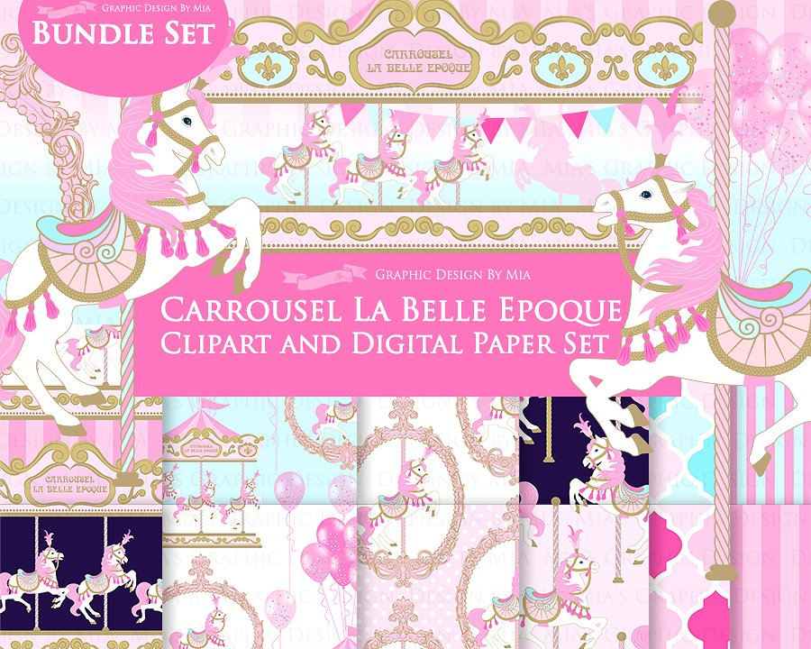 Carousel clipart pink. Pattern illustrations creative market