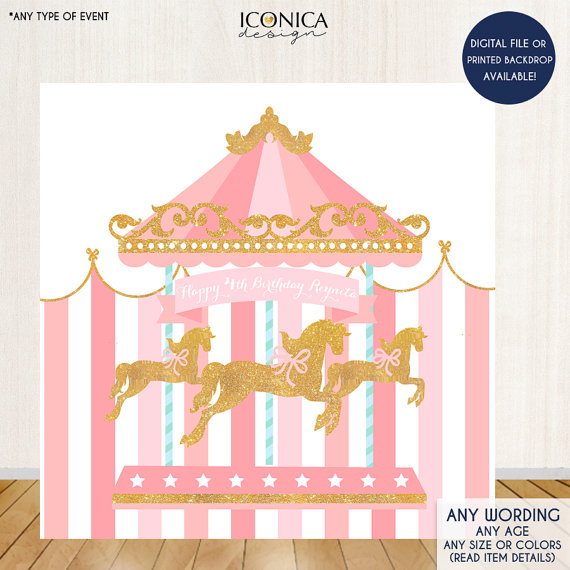 Carousel clipart pink. Backdrop horse first birthday