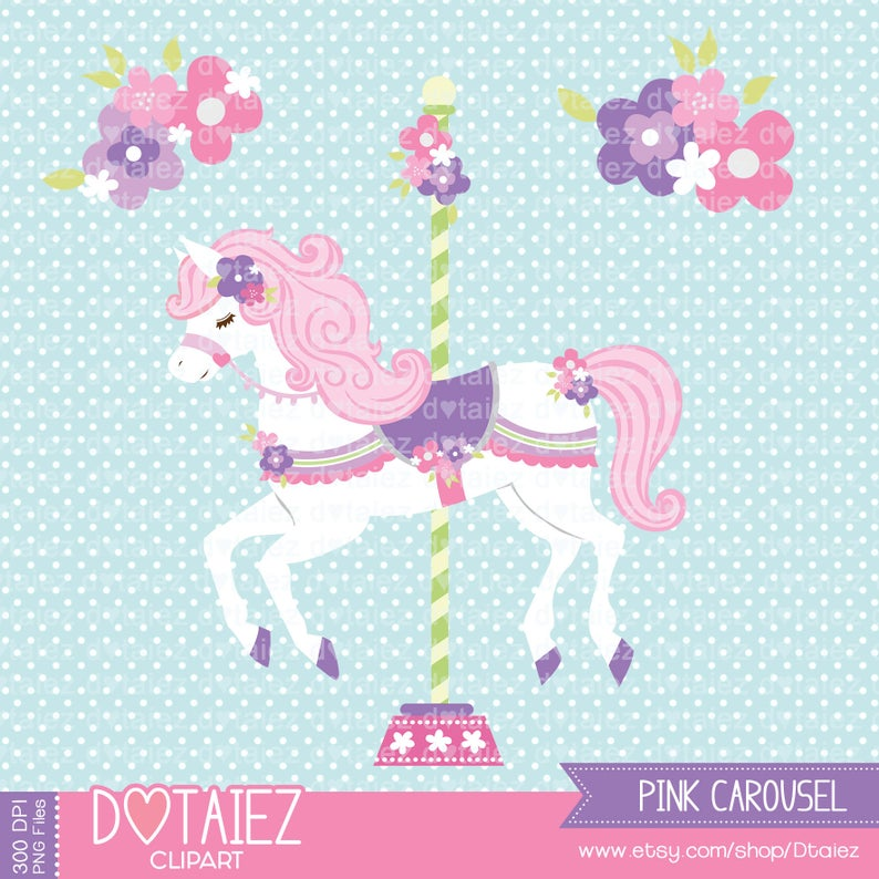 Carousel clipart pink. Cute horse flowers