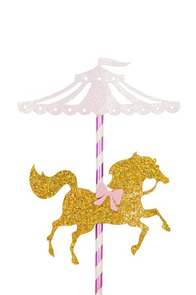 Carousel clipart pink. Gold cake topper products
