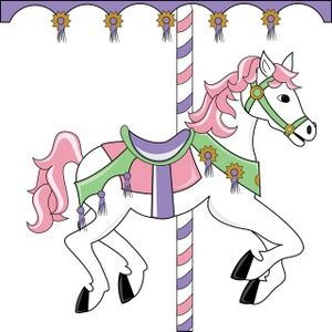 Carousel clipart pretty baby. Horse image pink themed
