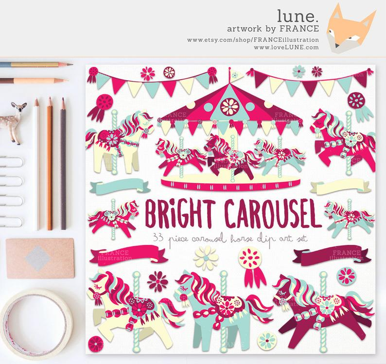 for horse set. Carousel clipart pretty baby