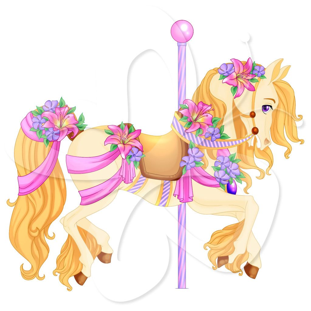 Carousel clipart pretty baby. A cute horse illustration