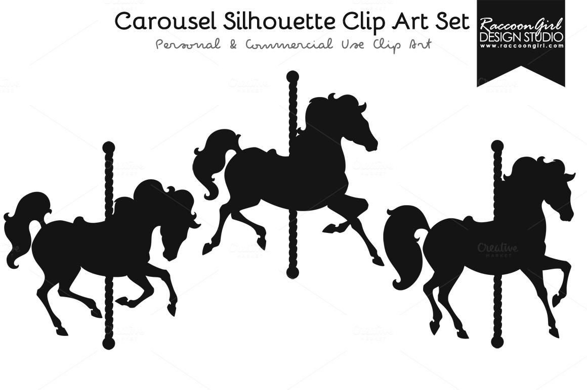 Clip art set horses. Carousel clipart silhouette