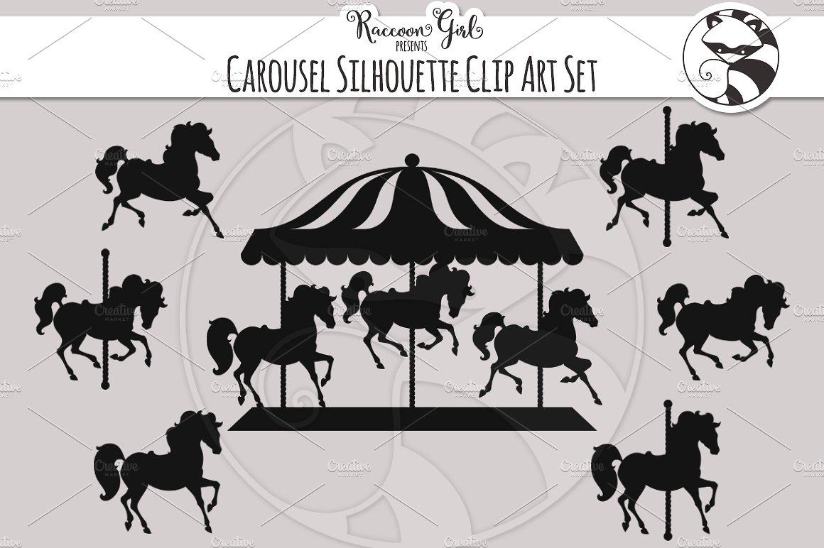 Carousel clipart silhouette. Clip art set illustrations