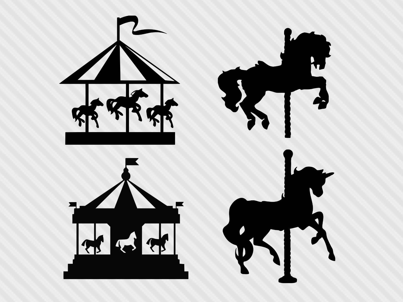 Svg cut files horse. Carousel clipart silhouette