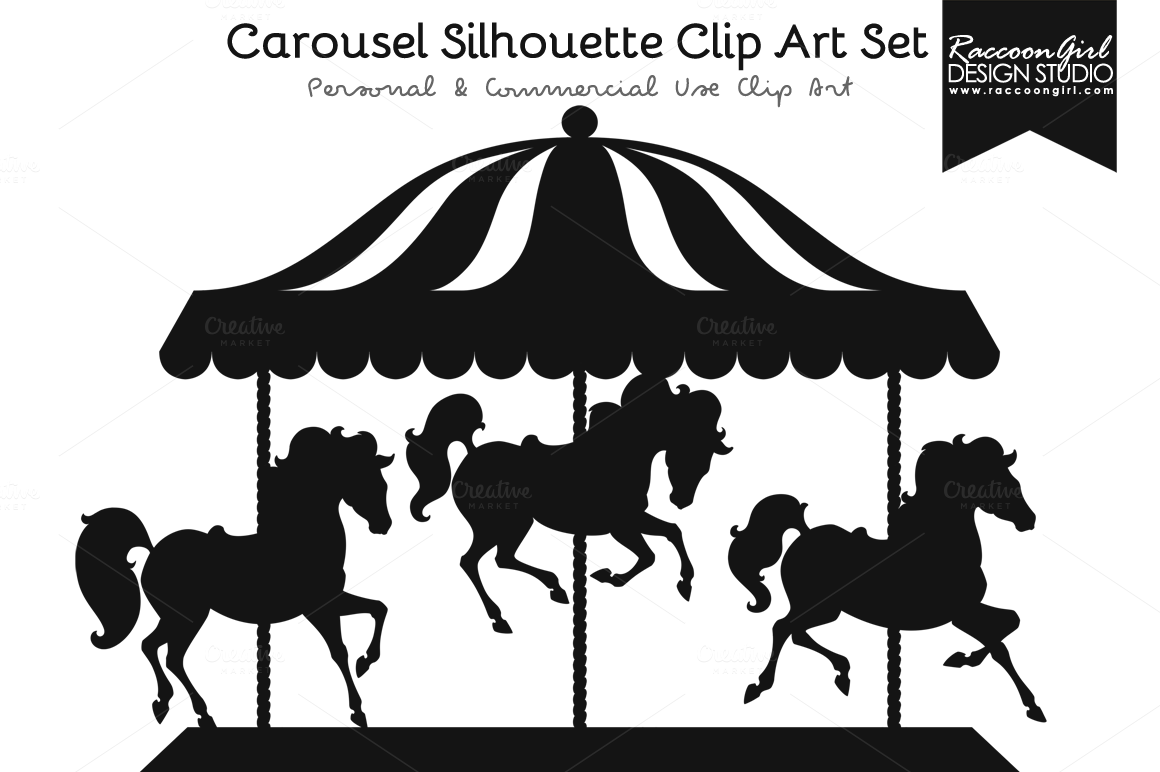Carousel clipart silhouette. Clip art set and