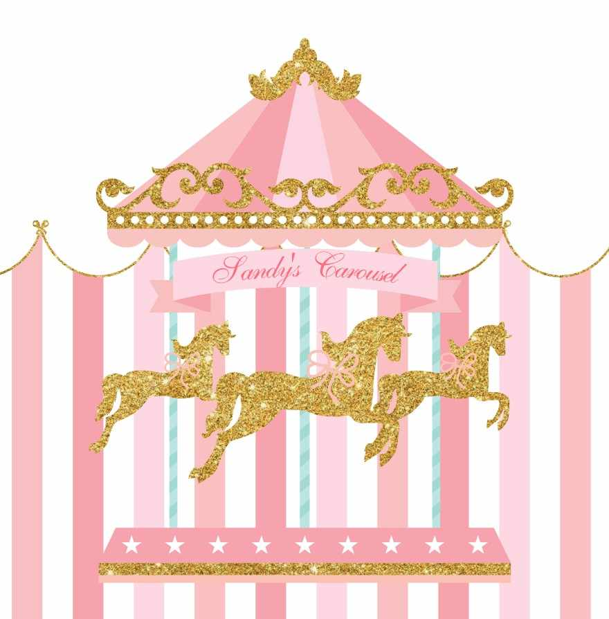 Custom horse first birthday. Carousel clipart tent circus pink