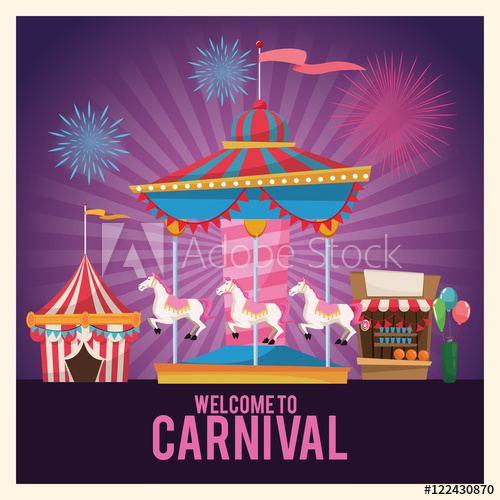 Stand and balloons carnival. Carousel clipart tent circus pink