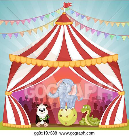Vector stock with animals. Carousel clipart tent circus pink