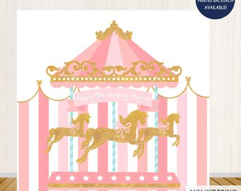 Birthday etsy backdrop horse. Carousel clipart tent circus pink