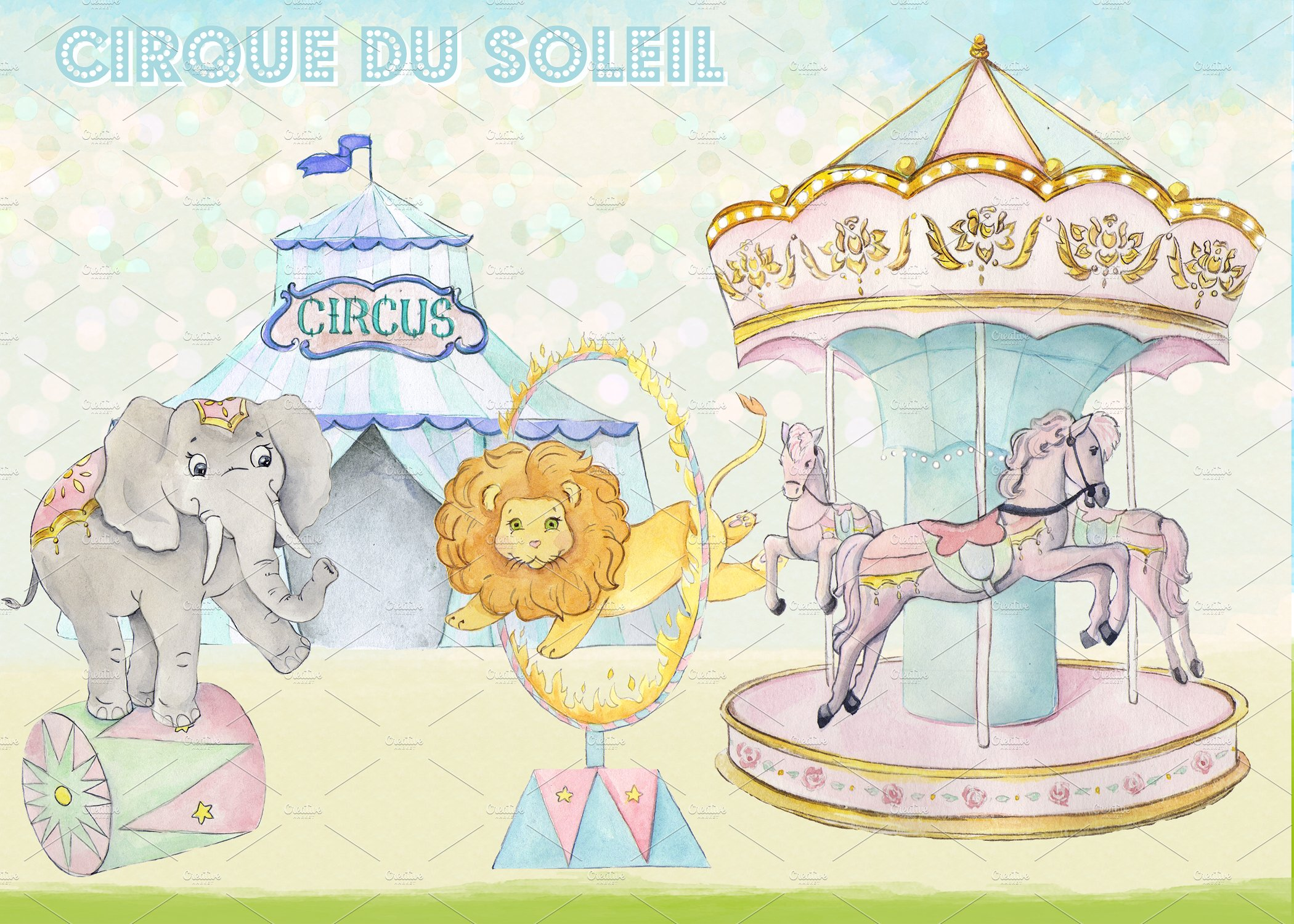 Carousel clipart tent circus pink. Watercolor images illustrations creative