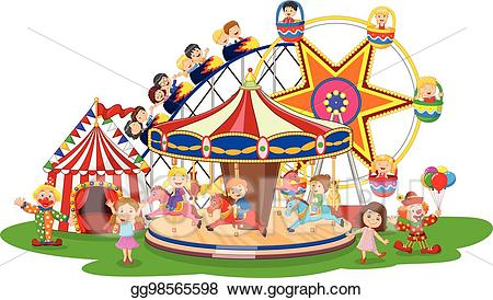 Vector carton amusement illustration. Carousel clipart theme park