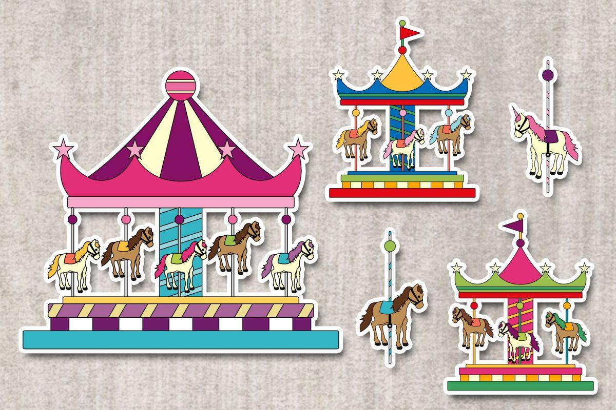 Merry go round graphics. Carousel clipart theme park