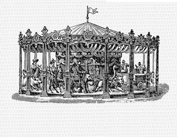 Carousel clipart victorian carousel. Antique merry go round