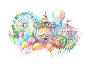 Carousel clipart victorian carousel. Carousels artwork for sale