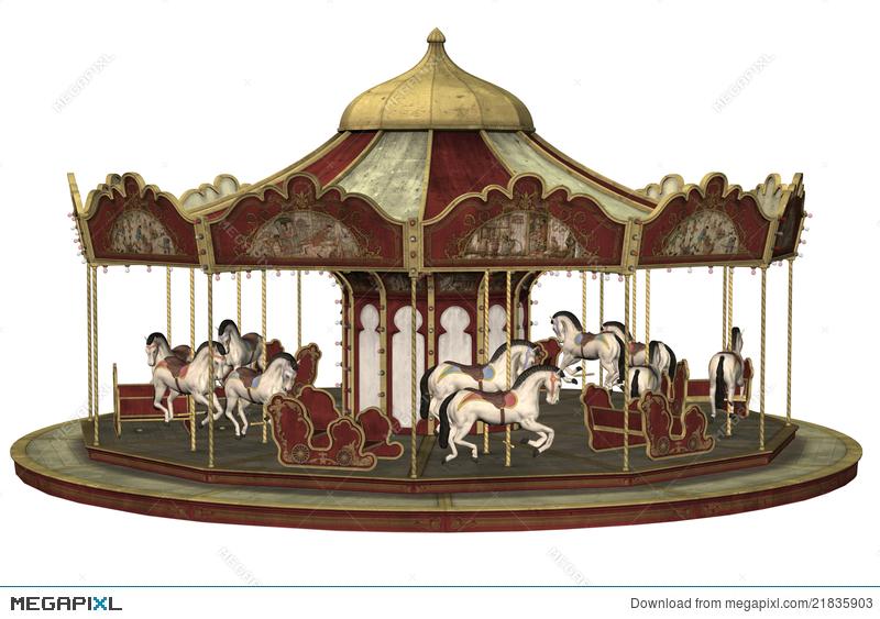 Carousel clipart victorian carousel. Old illustration megapixl