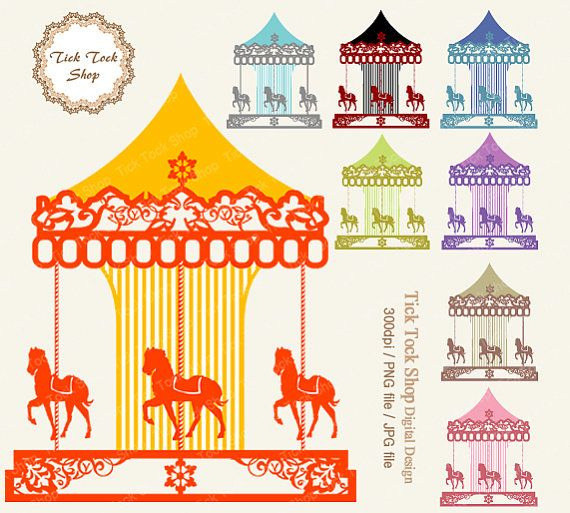 collection of vintage. Carousel clipart victorian carousel