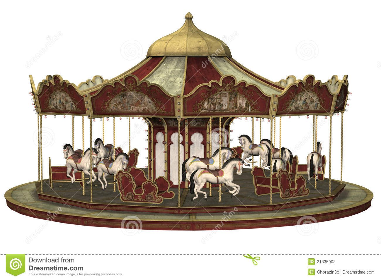 Illustration about d render. Carousel clipart victorian carousel