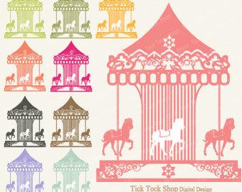 Vintage . Carousel clipart victorian carousel