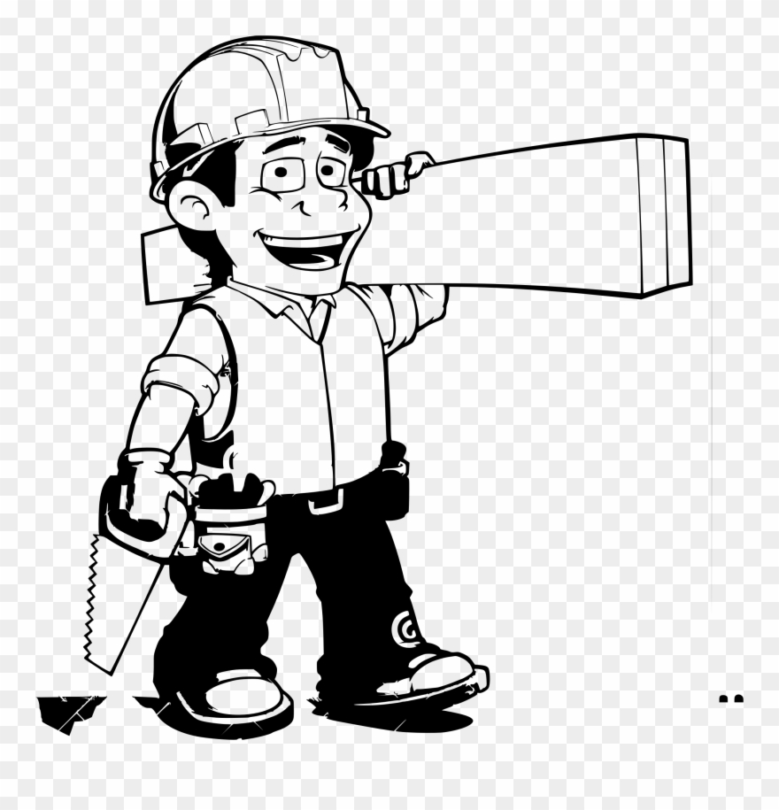Png download . Carpenter clipart black and white