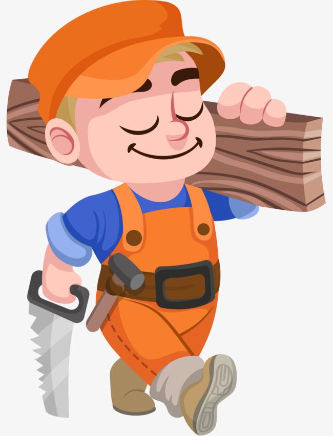 Carpenter clipart border. Cartoon hand painted hat