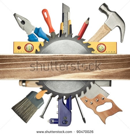 Tools letters logo within. Carpenter clipart border