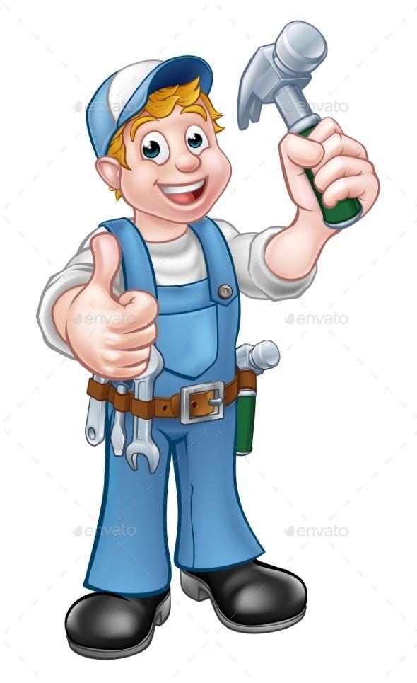 Cartoon carpenter handyman holding. Carpentry clipart masonry