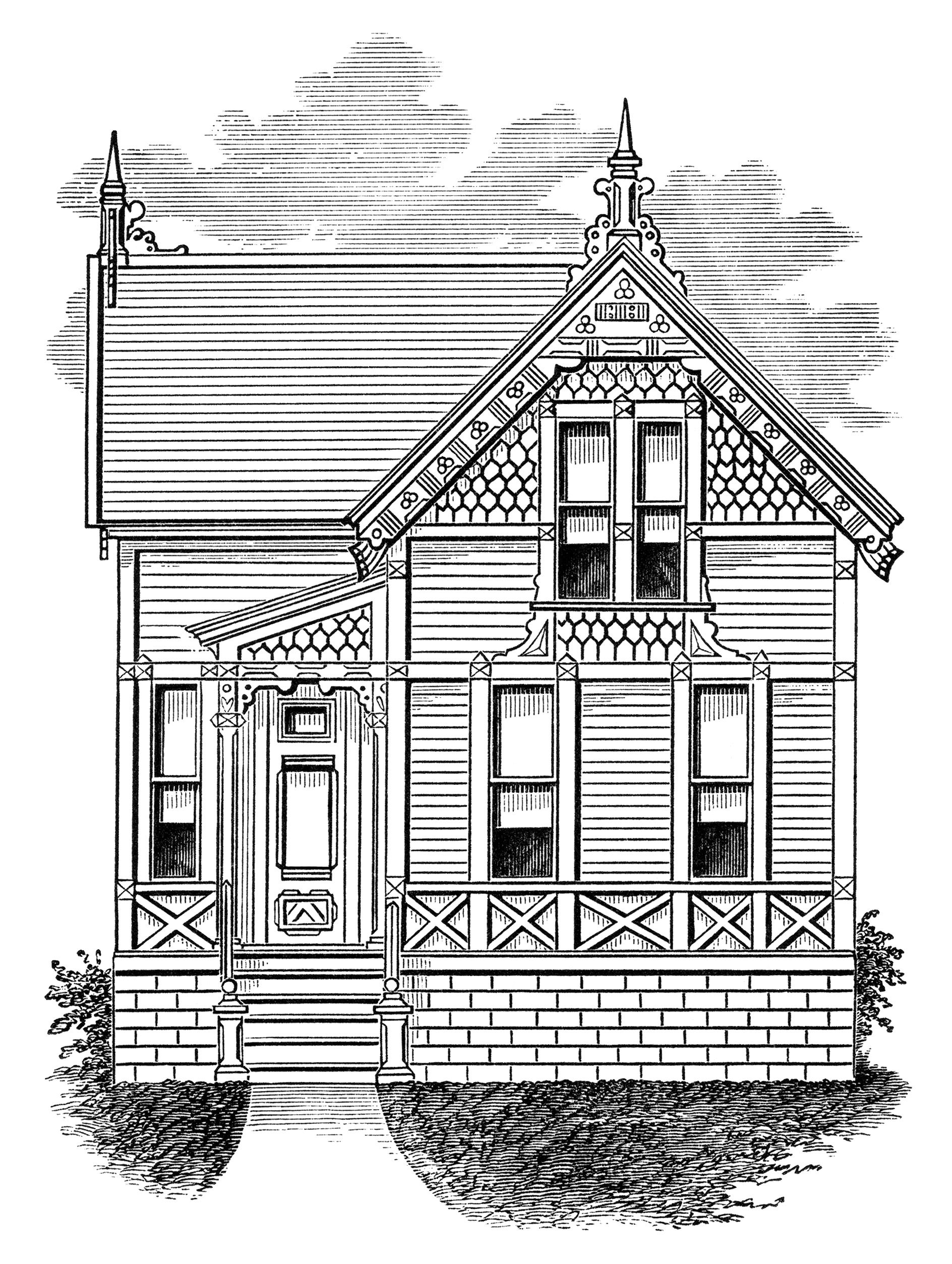 Small old house vintage. Farmhouse clipart victorian home