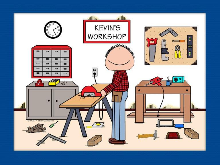 Carpentry clipart carpenter workshop. Cartoon picture personalized woodworker
