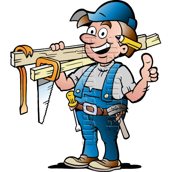 Handyman with carpentry tools. Working clipart carpenter