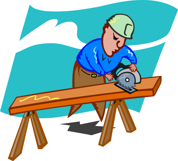 Sawing carpenter clip art. Working clipart willingness