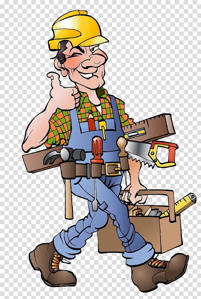 Carpenter making thumbs up. Carpentry clipart transparent
