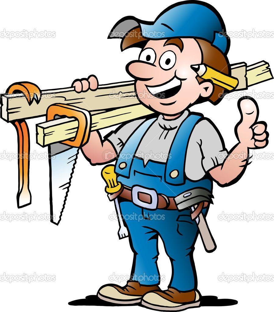 Carpenter clipart contractor. Hand drawn vector illustration