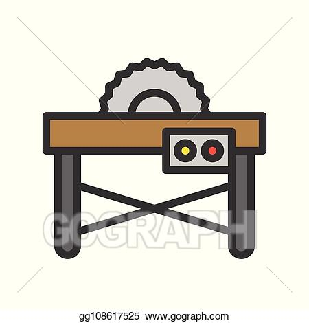 Vector table saw filled. Carpentry clipart equipment
