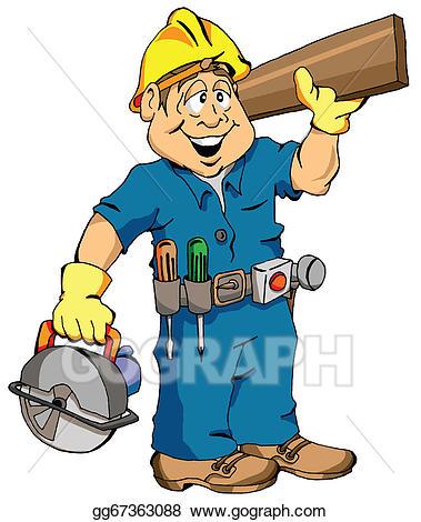 Carpenter clipart job. Vector stock the illustration