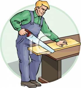Image a sawing wood. Carpenter clipart job