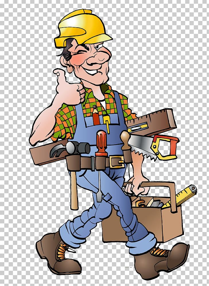 Cartoon carpenter drawing illustration. Contractor clipart skilled worker