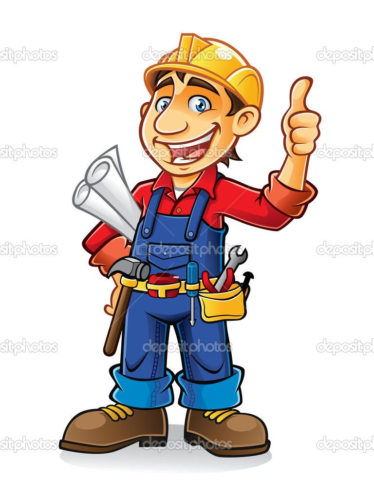 Cartoon worker clip art. Jobs clipart construction