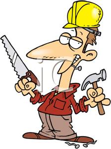 Carpentry clipart hammer saw. A carpenter with and