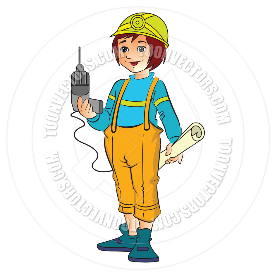 Female construction worker . Architect clipart lady