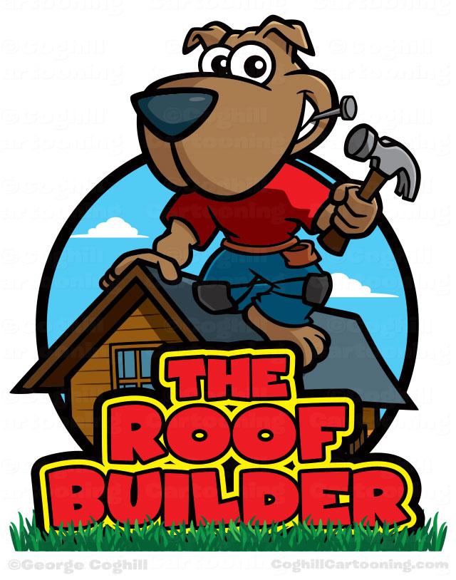 Carpenter dog cartoon character. Carpentry clipart vintage