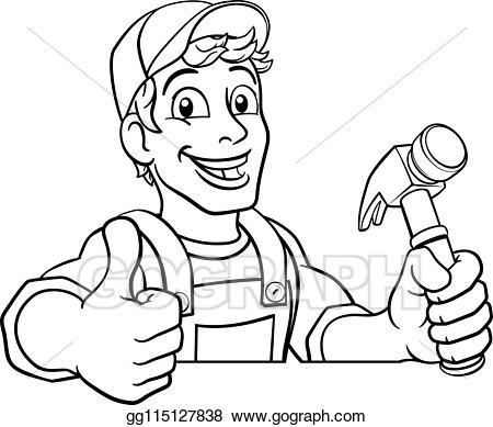 Carpenter clipart male. Eps illustration handyman hammer